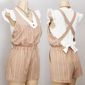 Beige Striped Linen Blend Overall Pinafore Romper